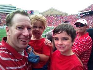 My two sons and I at the football game.